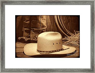 Cowboy Hat With Western Boots Framed Print