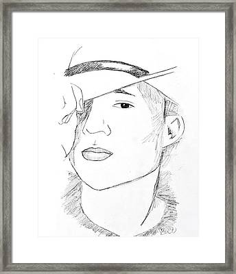 Framed Print featuring the drawing Cowboy Heath by Rebecca Wood
