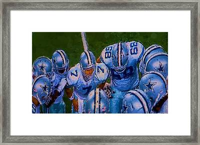 Cowboy Huddle Framed Print by Steven Richardson