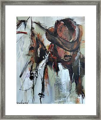 Framed Print featuring the painting Cowboy II by Cher Devereaux