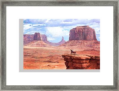 Cowboy In Monument Valley Framed Print by Kantor