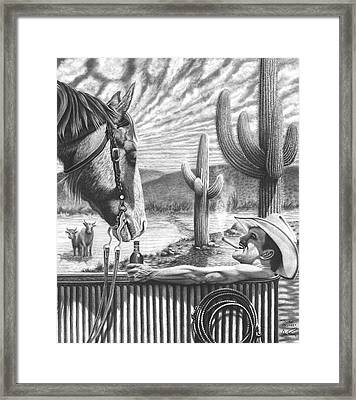 Cowboy Pencil Drawings Framed Print featuring the drawing Cowboy Jacuzzi by Glen Powell