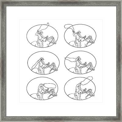Cowboy Lasso Riding Horse Drawing Collection Set Framed Print