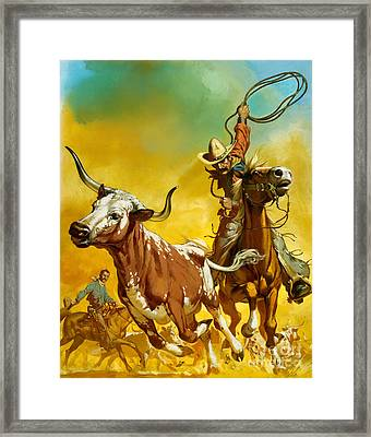 Cowboy Lassoing Cattle  Framed Print by Angus McBride