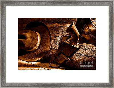 Cowboy Safety - Sepia Framed Print by Olivier Le Queinec