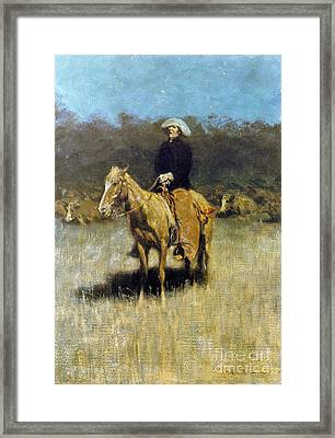 Cowboy Singing Framed Print by Granger