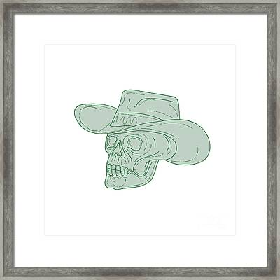 Cowboy Skull Drawing Framed Print