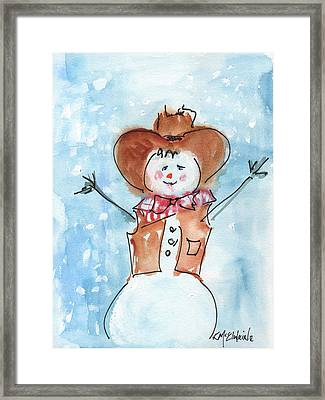 Cowboy Snowman Watercolor Painting By Kmcelwaine Framed Print