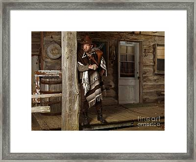 Cowboy Standing On A Porch Framed Print by Oleksiy Maksymenko