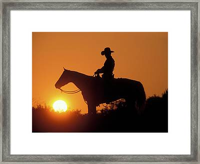 Cowboy Sunset Silhouette Framed Print