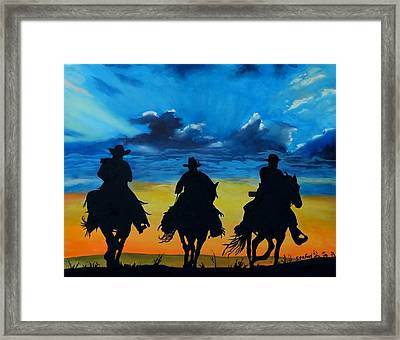 Cowboy  Sunset Framed Print by Stefon Marc Brown