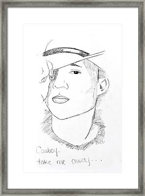 Framed Print featuring the drawing Cowboy Take Me Away by Rebecca Wood