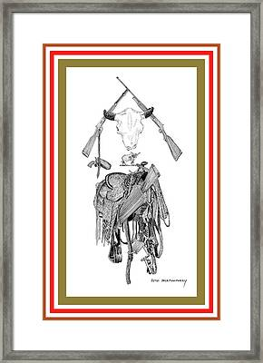 Framed Print featuring the drawing Cowboy Tribute by Jack Pumphrey