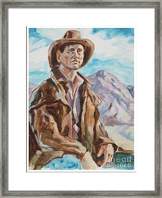 Cowboy With Mountain  Framed Print by Raymond  Zaplatar