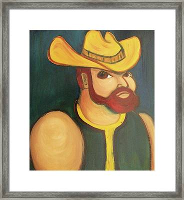 Cowboy With Yellow Hat Framed Print by Suzanne  Marie Leclair