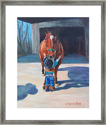 Framed Print featuring the painting Cowboy's First Love by Karen Kennedy Chatham