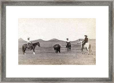 Cowboys, Roping A Buffalo Framed Print by Everett