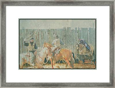 Cowboys Working The Spring Calves Framed Print by Kae Cheatham
