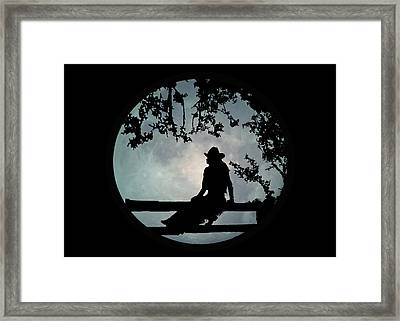 Cowgirl And Moon Framed Print by Stephanie Laird