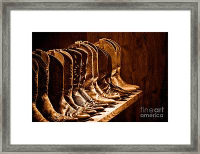 Cowgirl Boots Collection -sepia Framed Print by Olivier Le Queinec