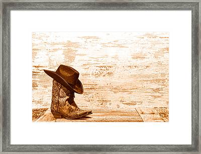 Cowgirl Boots - Sepia Framed Print by Olivier Le Queinec