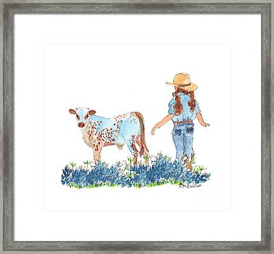 Cowgirl Calf In The Bluebonnets Pe005 Framed Print