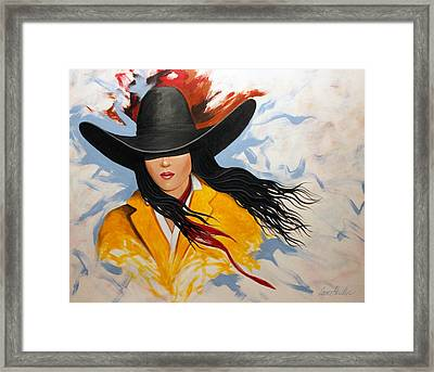 Framed Print featuring the painting Cowgirl Colors #3 by Lance Headlee