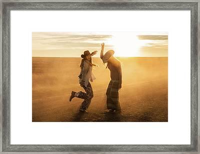 Cowgirl Dance Framed Print by Todd Klassy