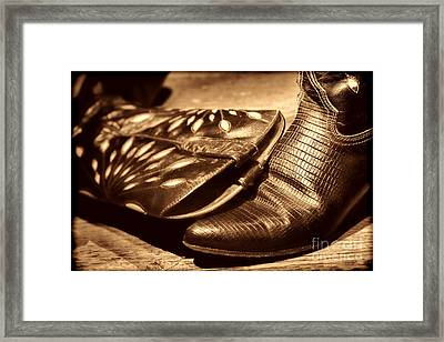 Cowgirl Gator Boots Framed Print by American West Legend By Olivier Le Queinec
