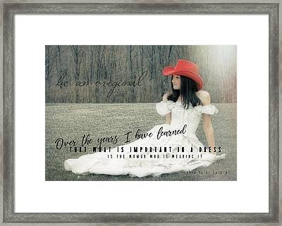 Cowgirl Red Quote Framed Print by JAMART Photography