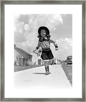Cowgirl Running Down Sidewalk, C.1950s Framed Print by H. Armstrong Roberts/ClassicStock