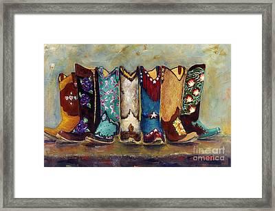 Cowgirls Kickin The Blues Framed Print by Frances Marino