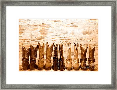 Cowgirls Night Out - Sepia Framed Print by Olivier Le Queinec
