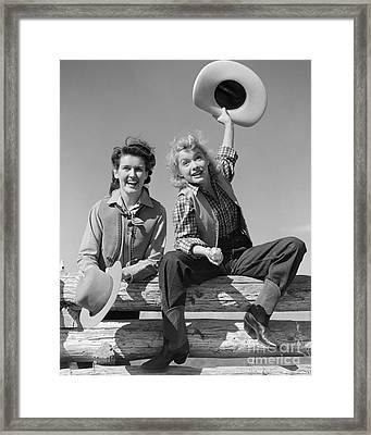 Cowgirls Sitting On A Fence, C.1940s Framed Print