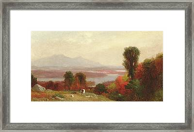Cows And Sheep Grazing In An Autumn River Landscape Framed Print