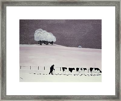 Cows In A Snowstorm Framed Print by Maggie Rowe