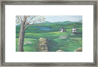 Cows In Field Framed Print
