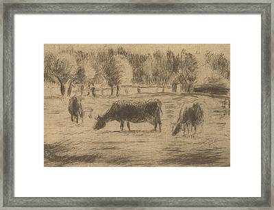 Cows In The Fields Of Eragny, Near Gisors Framed Print by Camille Pissarro