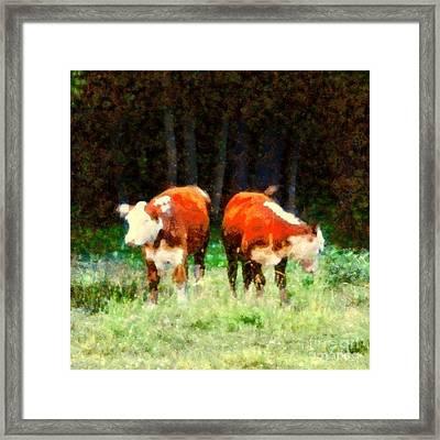 Cows In The Meadow - Swish Swish Framed Print by Janine Riley