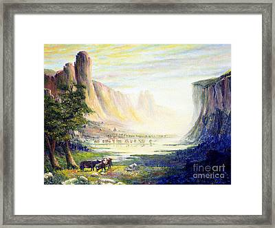Cows In The Mountain Framed Print by Wingsdomain Art and Photography