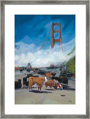 Cows On The Bridge 1 Framed Print by Kathryn LeMieux