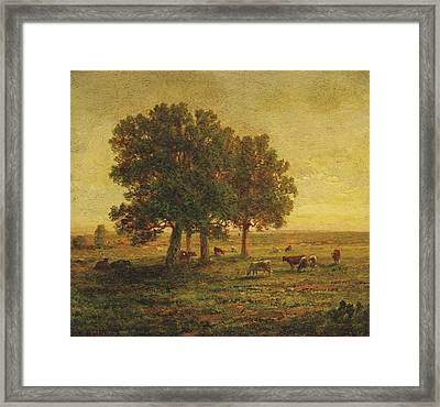 Cows Under A Group Of Oaks. Apremont Framed Print by Theodore Rousseau