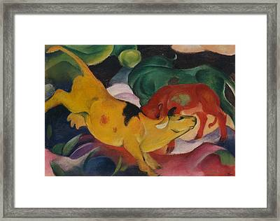 Cows Yellow Red And Green Framed Print