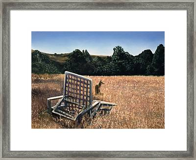 Coyote And Rabbit Framed Print by Lance Anderson