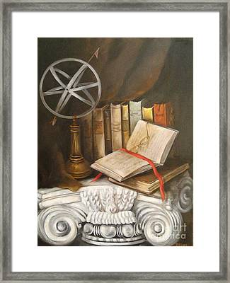 Traveling By Books Framed Print by Patricia Lang