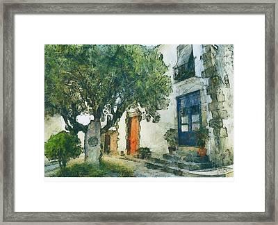Cozy Garden, Sant Pol De Mar, Spain Framed Print by Evgeny Leonov