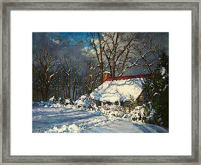 Cozy In The Snow Framed Print by L Diane Johnson