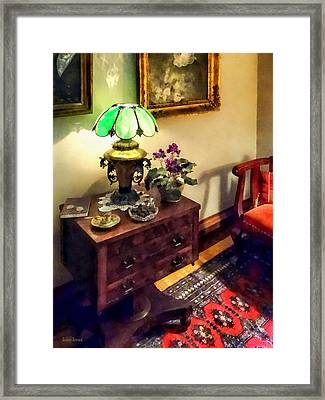 Cozy Parlor With Flower Petal Lamp Framed Print