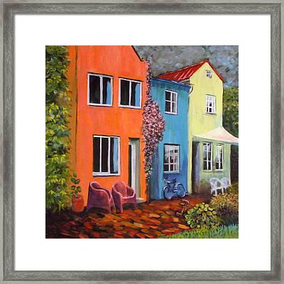 Cozy Street Framed Print by Art Nomad Sandra  Hansen