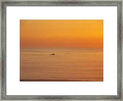 Crab Boat At Sunset Framed Print